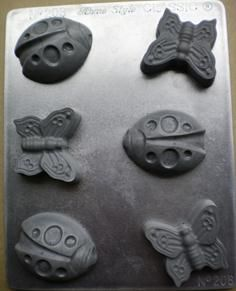 Butterflies Ladybirds - This mould is perfect for making soap, chocolate or for various crafts. A NZ made chocolate and soap or craft mold.