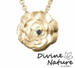 """Rose""  14 k gold plated sterling silver pendant set with black cubic zirkonia"