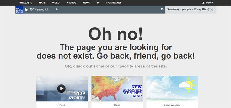 The Weather Channel 404 error page