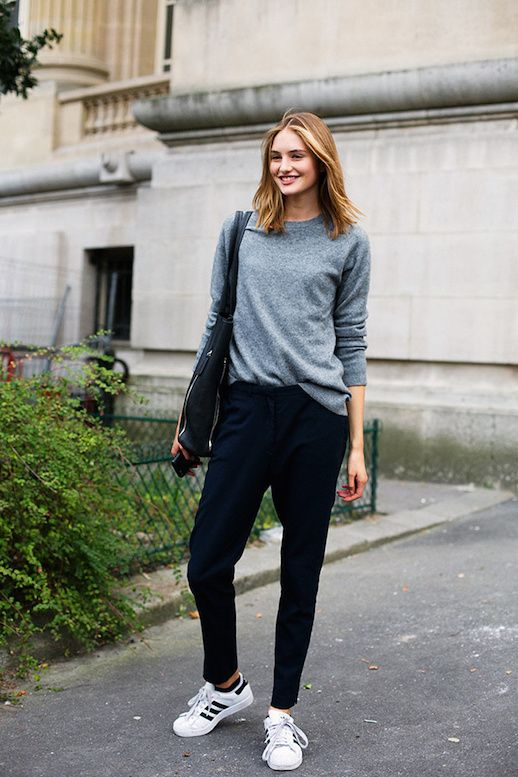 Le Fashion Blog 25 Ways To Wear Adidas Sneakers Grey Sweater Slouchy Pants Original Superstar Street Style Via Vogue Spain Photo by lefashion | Photobucket