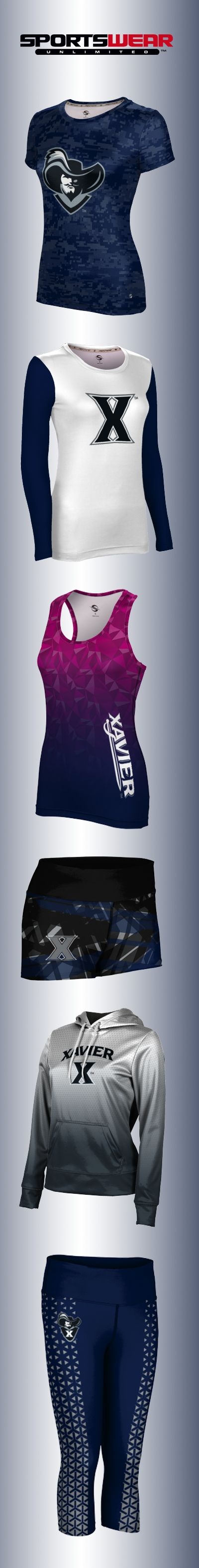 Shop Xavier Musketeers activewear! Tees, hoodies, tanks, sports bras, shorts and capris available in customizable school colors.