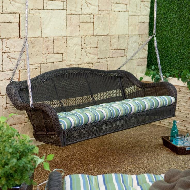 Casco Bay 3 Seater Wicker Porch Swing   Espresso