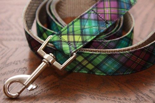 Purple Green and Blue Colourful Plaid Dog Leash. $18.00  Find Bonzai Gifts on Facebook for more!