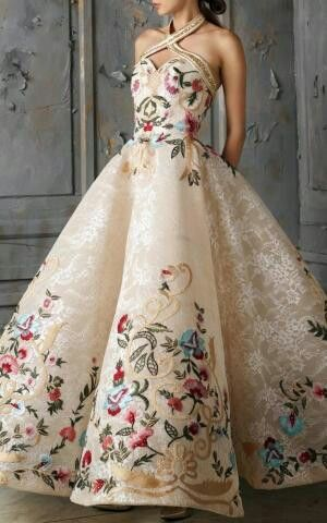 Beautiful creme floral gown