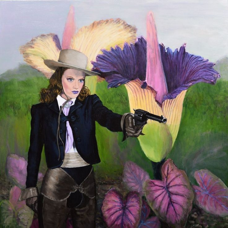 LARGE original painting surreal cowgirl carnivorous plant sci fi Jane Ianniello