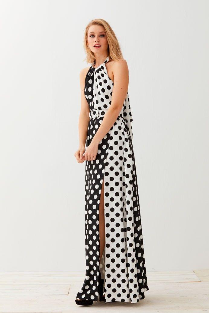 aa7e19f5d65 Vestido Largo Escote Halter Lunares Mármara en 2019 | All Dressed up and  Nowhere to Go | Dresses, Fashion y Dress up