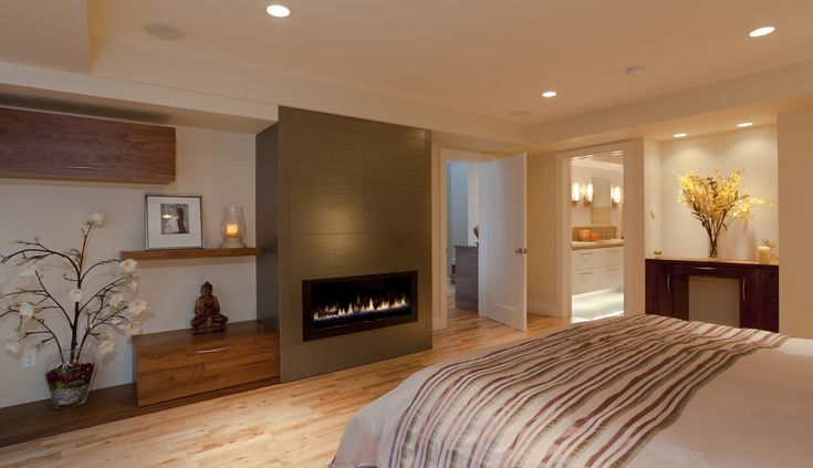 Gas Fireplace Ideas Bring Chic and Tranquil To Your Home: Bedroom Design With Gas Fireplace Ideas And Floating Shelf Also Built In Bench And Wood Cabinet With Wood Flooring Plus Bedding