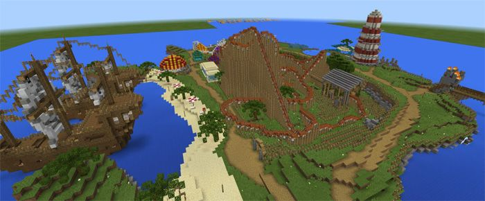 This map includes many attractive places to discover. There are different themes in each place, including The Lord of the Rings, Roald Dahl, and Pirates and Horror. You can find these great things in one place. Other impressive features include fireworks, 5 restaurants, and a hotel coming with... https://mcpebox.com/fantasy-islands-theme-park-creation-roller-coaster-map-minecraft-pe/