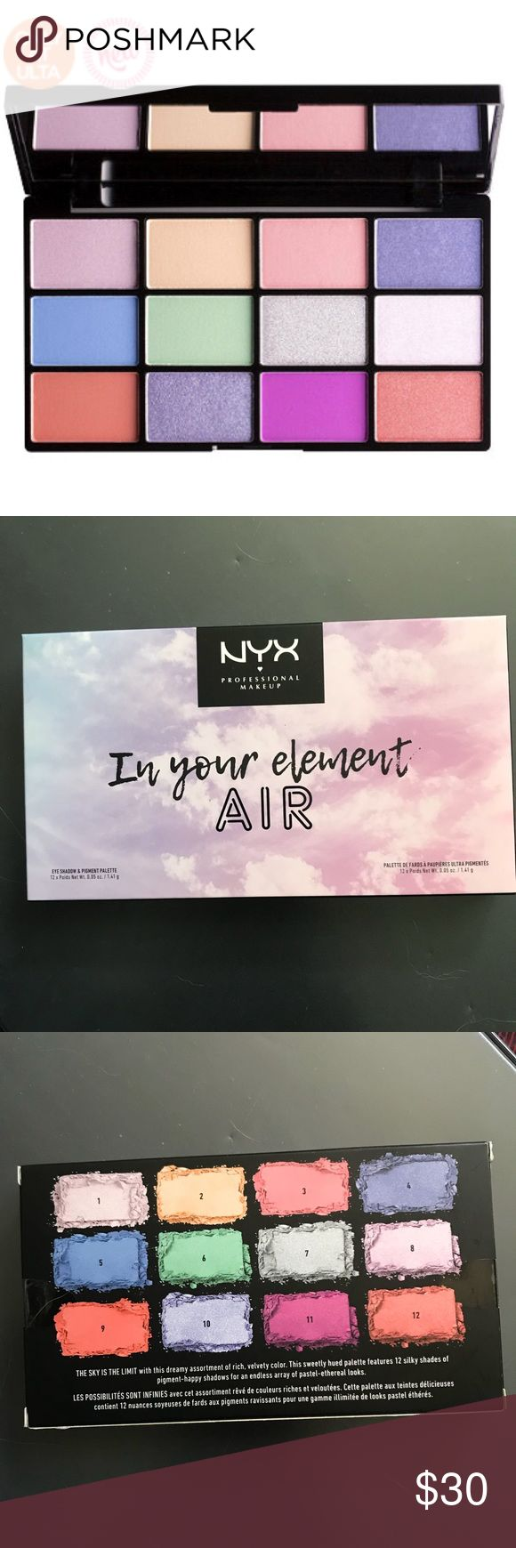 🆕 NYX In Your Element AIR Palette NEW!! Brand new in box. Retails for $30 In Your Element Air Shadow Palette is a limited-edition palette featuring 12 air-inspired tones of ultra-velvety eyeshadow pigment, plus a generously sized mirror. The sky is the limit with this dreamy assortment of rich, velvety color. This sweetly hued palette features silky shades of rich, blendable eyeshadow and pigment for an endless array of pastel-ethereal looks. color combinations is inspired by the earth's…