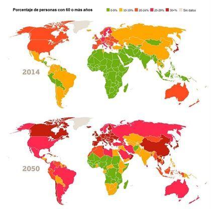 Mapa del rápido envejecimiento de la población mundial