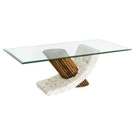 A modern glass coffee table with a designer look, but not the designer price tag!  A clear rectangle of glass mounted on a base of Mactan stone, sourced from the South Philippines.  A stunning creation that will make an attractive centrepiece for your living room, and is sure to catch the attention of all who see it.