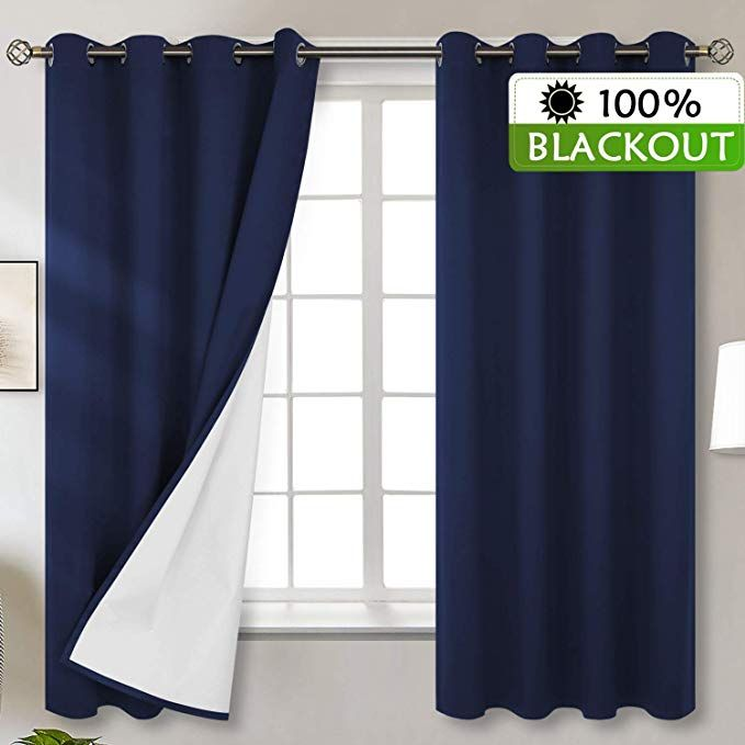 Bgment Total Blackout Curtains With Coated Lining Grommets Thermal Insulated Room Darkening Curtain For Bedroom And Blackout Curtains Room Darkening Curtains