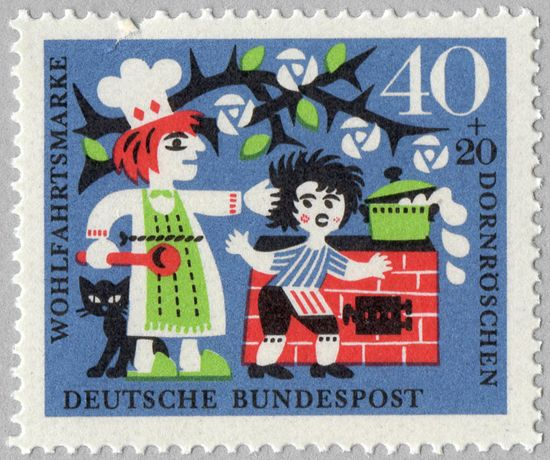 German stamp - Sleeping Beauty, when everybody is about to fall asleep