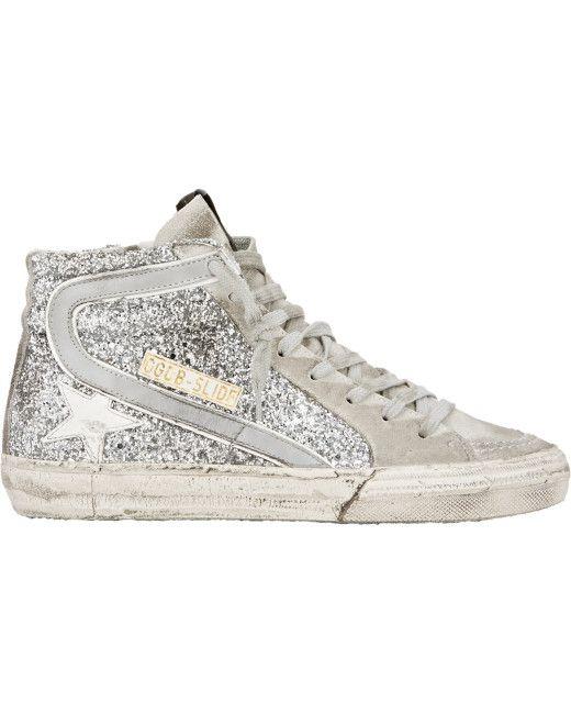 Golden Goose Deluxe Brand   Silver Slide Glitter High-Top Sneakers   Lyst