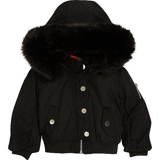 Mini girls black hooded bomber jacket - baby girls coats / jackets - mini girls - girls
