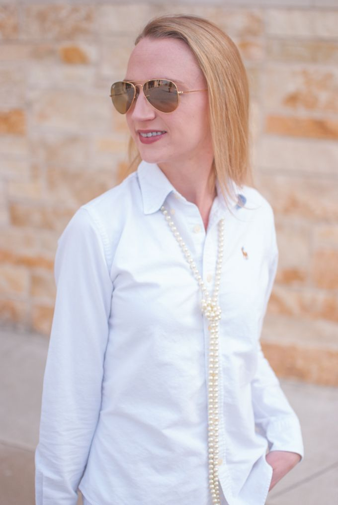 A pair of Ray Ban sunglasses, pearls and a white oxford shirt are 3 of my wardrobe essentials. Find out how you can put together a super chic outfit in no time.