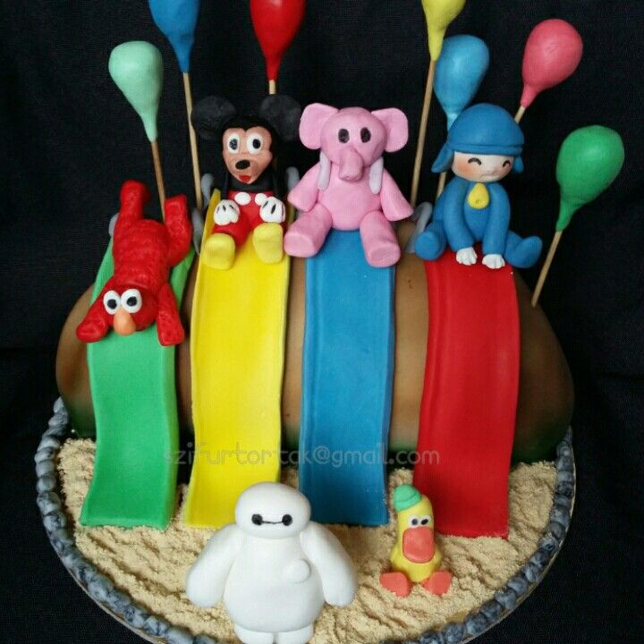 Birthday cake #elmo #mickeymouse #pocoyo #szifurtortak