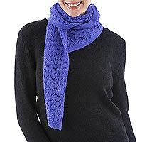 Hand Knitted Alpaca Scarf from Peru in Periwinkle Blue