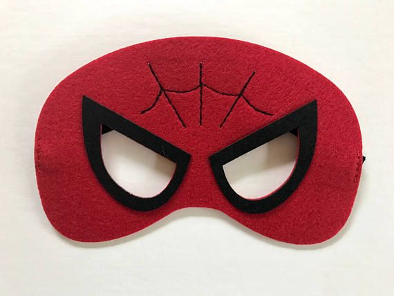 This listing is for a set of 4 Spider-Man party masks, as shown in the photo.  Masks elastic band fits ages 2 to adults. 4 Spider-Man Please include your party date in the notes to seller.  Visit my shop: http://www.etsy.com/shop/YourPartyMarketplace  For custom listings feel
