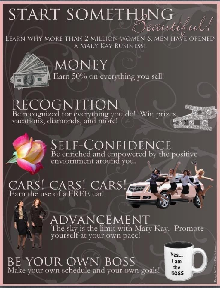 Just a few reasons to become a Mary Kay Consultant! Like my page at www.facebook.com/AJungMaryKay and message me for more info!