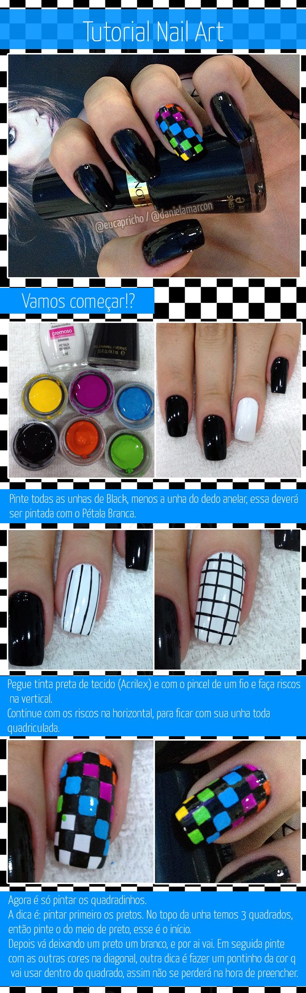 Tutorial de nail art / unha decorada quadriculada