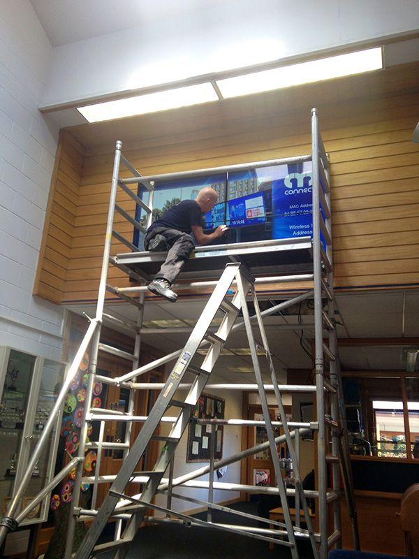 2x2 Video Wall install at Northampton High School for Girls https://www.eclipsedigitalmedia.co.uk/project/northampton-high-school/ #digitalsignage #videowall #education