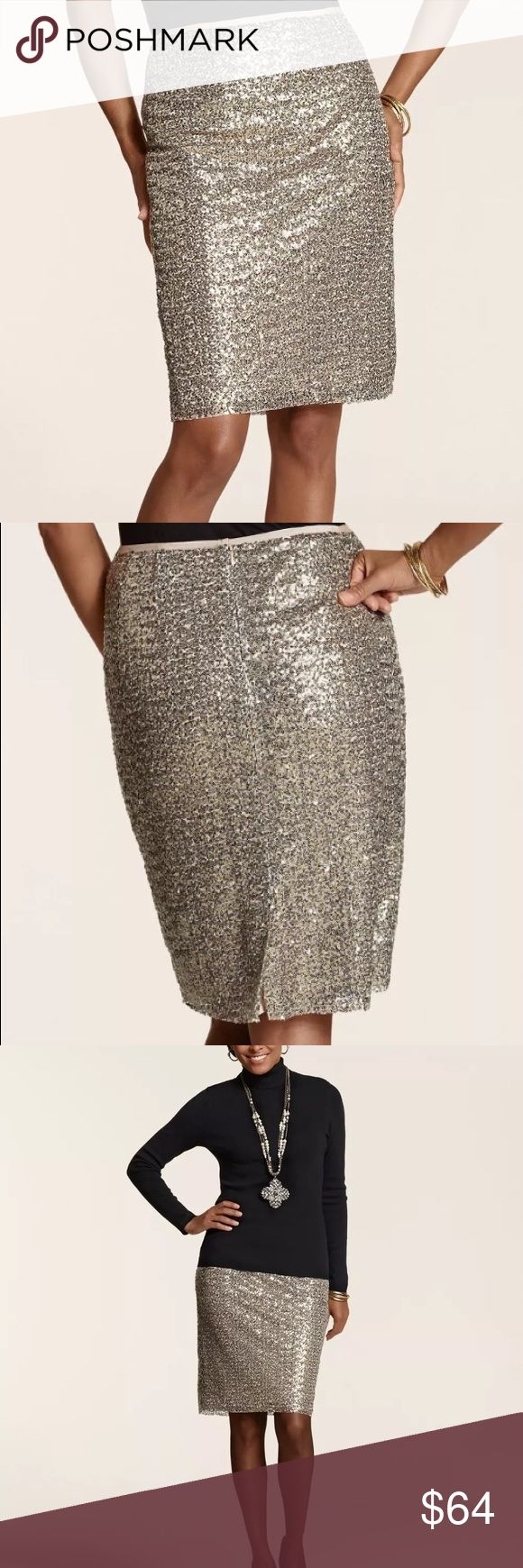 """Chicos Sequin Stephanie Gold Cocktail Sz 1 NEW Chicos Womens Skirt Sequin Pencil Stephanie Shimmer Gold Cocktail Size 1 New with tags The party-perfect pencil skirt in paillette-covered mesh. Lots of dazzle, loads of sparkle. •Grosgrain-ribbon waistband. •Tailored with a zip closure at the back. •Back kick-pleat. •Length: 24"""". •Shell and lining: 100% polyester. •Hand wash. Imported. Chico's Skirts Pencil"""