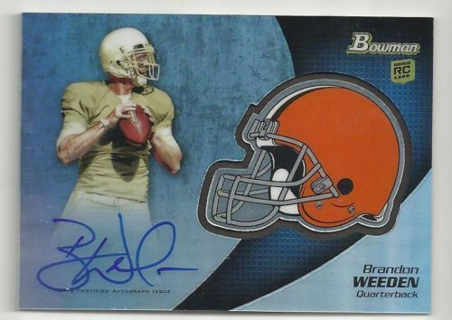 2012 Bowman Chrome Brandon Weeden Helmet Rookie AutoGRAPH Helmet card mint
