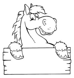 Coloring Pages Clipart Image: Horse Coloring Page with Room for Text
