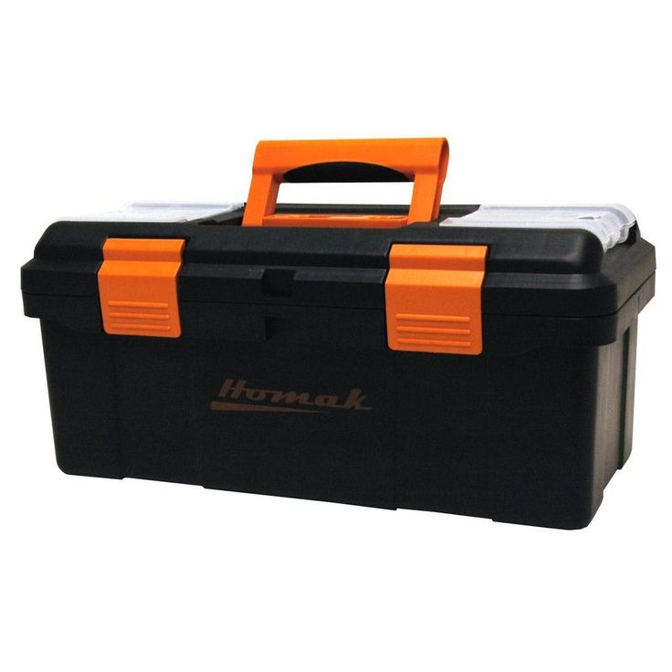 Homak 16 in. Tool Box, Black, Black Plastic