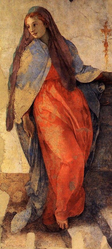 PONTORMO 1525-28 Annunciazione della Vergine - (Detail) Church of Santa Felicita, Cappella Capponi Florence