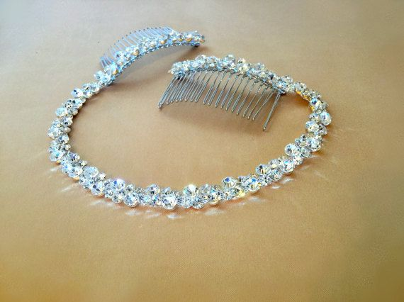 Rhinestone Bridal Headpiece Crystal Hair Tiara by FashionaryDesign