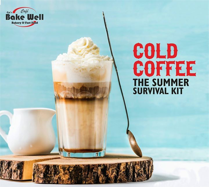 cold coffee the summer survival kit cafe bake well bakery fast food cafe fastfood summer drinks foodlover indore coffee tea snacks