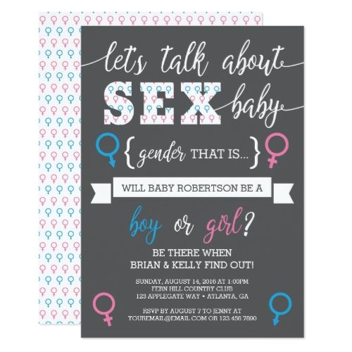 Gender Reveal Party Gender Reveal Invitation, Let's Talk About Gender Card