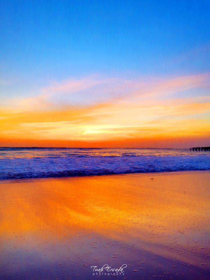 Sunset, Dinner at Furama Cafe — Jimbaran Beach Bali. #orange #blue #water #ocean #wave #sky
