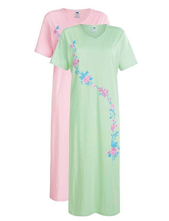049758070e Ladies Nighties Pack of 2 Cotton Nightdresses: Amazon.co.uk: Clothing