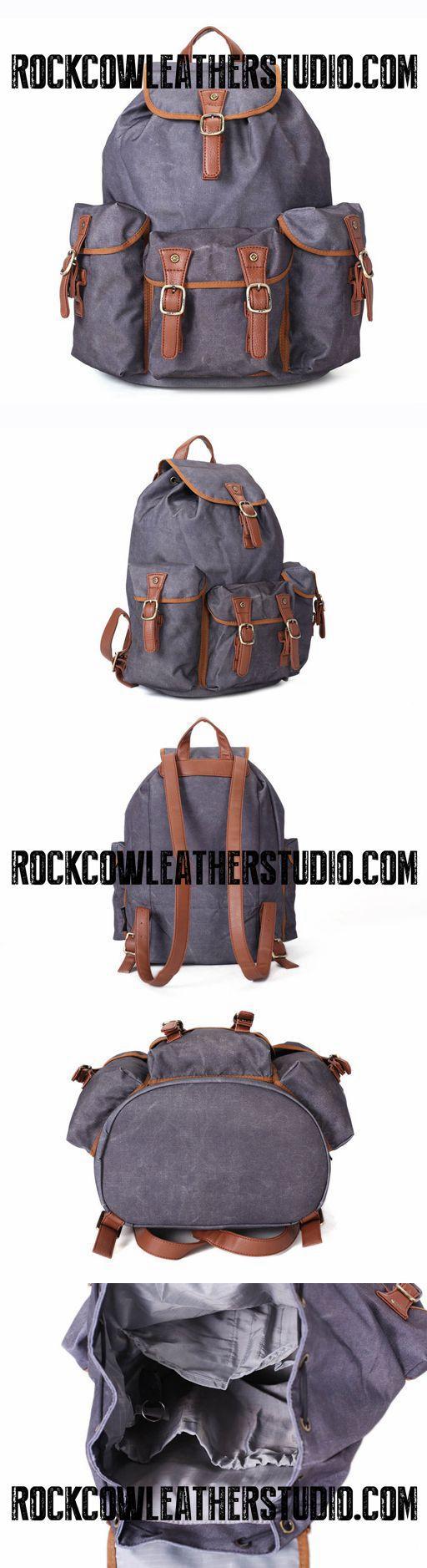 Waterproof Canvas Travel Backpack, School Rucksack, Large Men's Backpack, Cool Hiking Backpack FB15