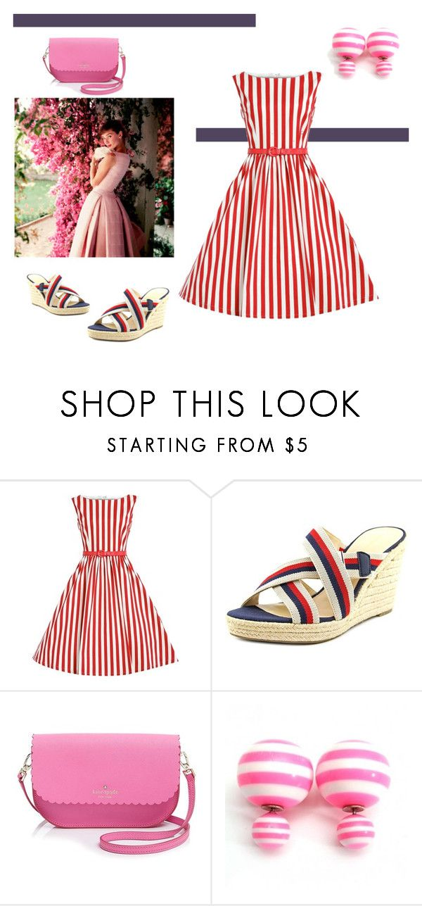 """""""""""Audrey"""" Red Stripe Swing Dress"""" by dana-debanks ❤ liked on Polyvore featuring Tommy Hilfiger and Kate Spade"""