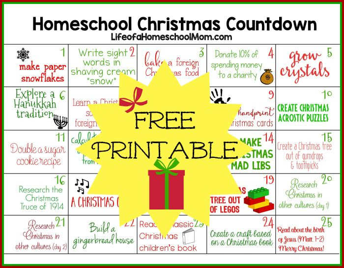 Calendar Lesson Ideas : Free homeschool christmas activities countdown printable