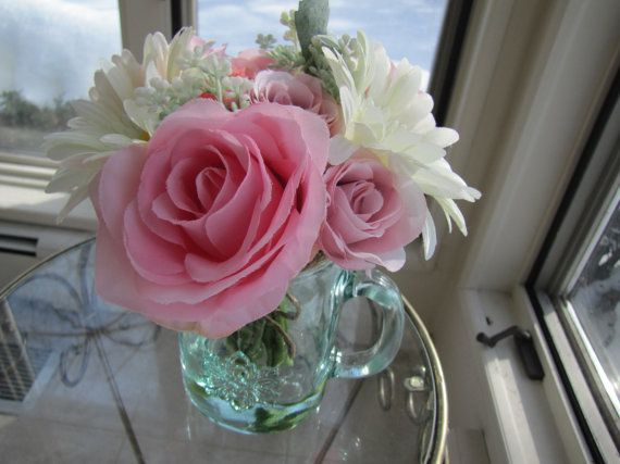 Beautiful  Silk Flower Arrangement pink rose and by FlowerIsland