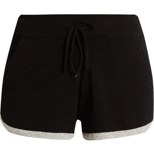 Pepper & Mayne Drawstring-waist cashmere shorts ($166) ❤ liked on Polyvore featuring shorts