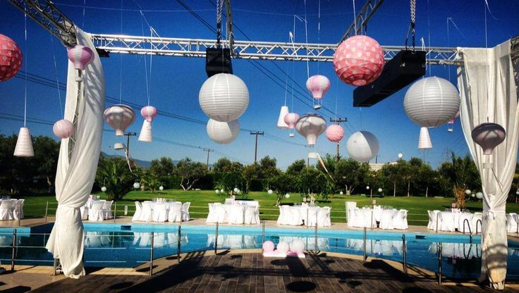 Christening Party Decoration with paper lanterns   Στολισμός Βάφτισης με χάρτινα φανάρια και αερόστατα.   #christeningdecor #kidsparty #paperlanterns #airballoons #pink and #white #poolparty