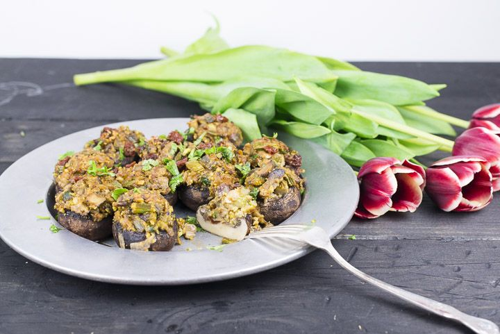 Stuffed Mushrooms With Lemony Asparagus and Pistachios [Vegan, Gluten-Free] | One Green Planet