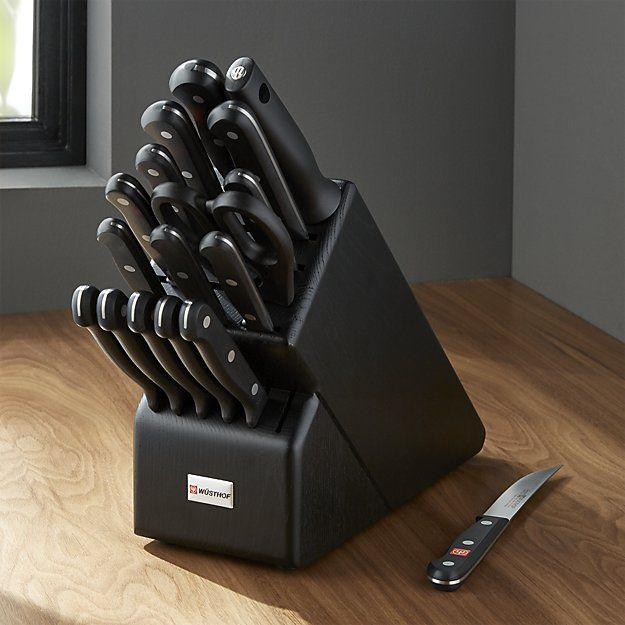 Wüsthof ® Gourmet 18-Piece Black Knife Block Set | Crate and Barrel