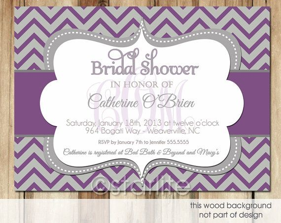 Monogram Bridal Shower invitation - Plum Gray Chevron - any event birthday shower Invitation - PRINTABLE Invitation Design