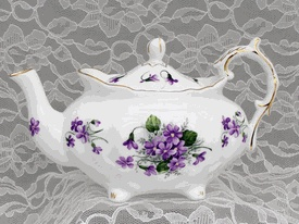 Violets Victorian Teapot by Heirloom - British Teapot.................