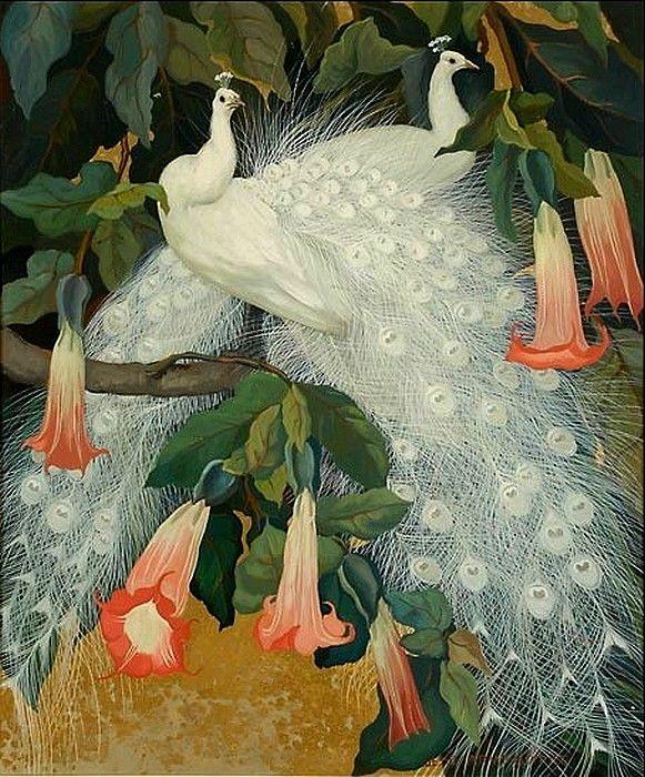 Jessie Hazel Arms Botke (1883-1971) — White Peacocks in Angel's Trumpets (Brugmansia)  (581x700)