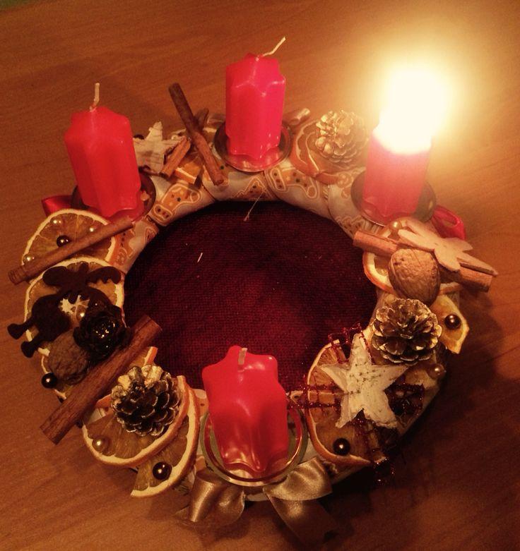 Advent wreath Adventi koszorú DIY Szaritott narancs, dry orange