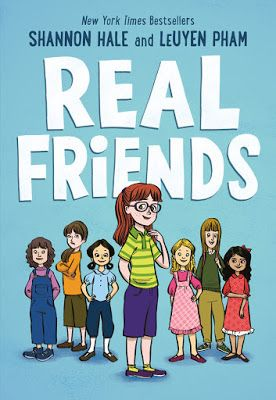 As you grow up from a young age to adulthood, you begin to realize best friends may come and go, making for painful experiences.  Real Friends (First Second, an imprint of Roaring Brook Press, May 2, 2017) written by Shannon Hale with artwork by LeUyen Pham and color by Jane Poole is a true recollection of finding positive people with whom to share your days.  It's full, like life, with heartbreak, healing and hope.