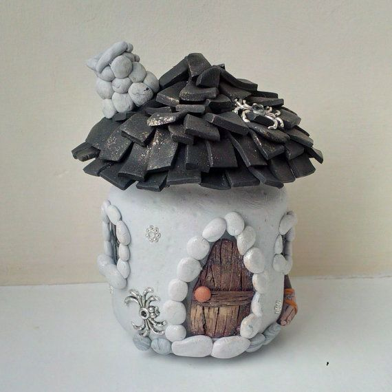 Witch's Cottage Fairy House Polymer Clay Decorated Jar with a Flameless Tea Light Candle
